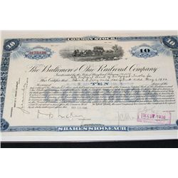 The Baltimore and Ohio Railroad Company Stock Certificate Dated 1926