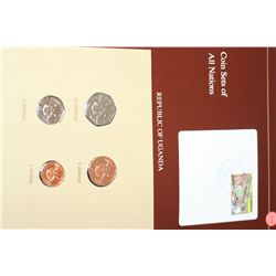Republic of Uganda; Coin Sets of All Nations W/Postal Stamp Dated 1983