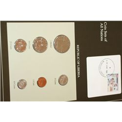 Republic of Liberia; Coin Sets of All Nations W/Postal Stamp Dated 1988