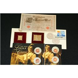 Grab Bag of First Day Issue; Foreign Bank Note; Lincoln Penny Set & Silver Morgan; Lot of 7