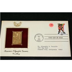 1984 First Day Issue 22K Gold Replica Stamp W/Postal Stamp; Summer Olympic Games Wrestling
