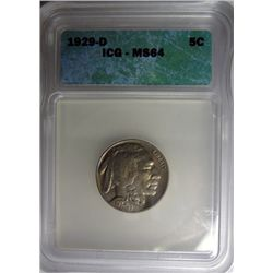 1929-D BUFFALO NICKEL ICG MS64 GEM
