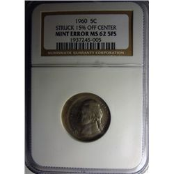 1960 JEFFERSON NICKEL NGC ERROR 15% OFF-CENTER