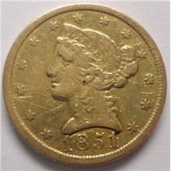RARE C MINT GOLD 1851-C (REV. ROTATED 120 DEG.) VF LT SCRS.