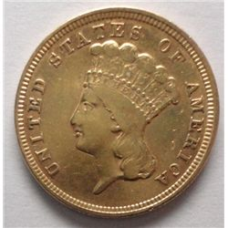 """PRINCESS"" $3 GOLD, 1854 SHARP  XF+MINOR LUSTER STILL PRESENT NO DAMAGE"