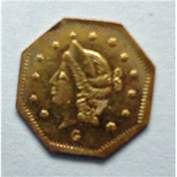 1869 50 Cent California gold, octagonal Breen Gillio 919 R4 Ch BU 63