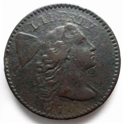 1794 LIBERTY CAP LARGE CENT SHARP VF/XF DETS, SOMEWHAT DARK W/A MINOR RIM NICK