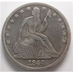 RARE DOUBLED DATE 1844-O 50CENT, SHARP & ORIG XF, WE NEVER SEE THESE ANYMORE!