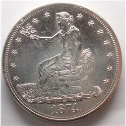 1874-S TRADE $, MUCH SCARCER THAN COMMON HIGHLY LUSTRUS CH BU62 BEAUTIFUL COIN!!