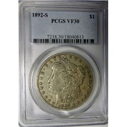 1892-S MORGAN DOLLAR PCGS VF-XF30