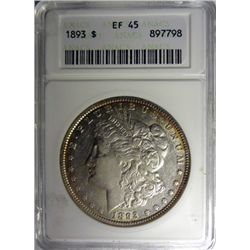1893 MORGAN DOLLAR ANACS XF-AU45