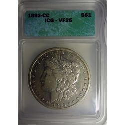 1893CC MORGAN DOLLAR ICG VF25 NICE!