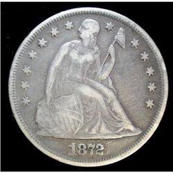1872 SEATED DOLLAR, VF NICE