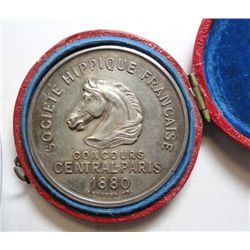 1880 Society Hippique, Paris Horse Club Award in original Box w/unbroken hinge