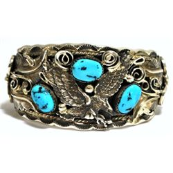 Old Pawn Turquoise Flying Eagle Sterling Silver Cuff Bracelet - Allen Chee
