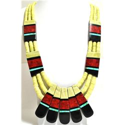 Santo Domingo Reversible Multi-Stone & Serpentine Heishi Necklace - Delbert & Torevia Crespin