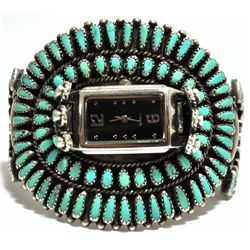 Old Pawn Turquoise Needlepoint Cluster Sterling Silver Cuff Bracelet Women's Watch - T. John