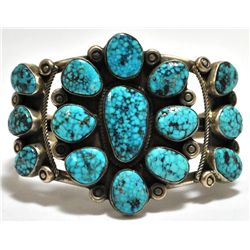 Old Pawn Navajo Turquoise Cluster Sterling Silver Cuff Bracelet - R. Tom