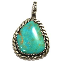 Old Pawn Royston Turquoise Sterling Silver Pendant