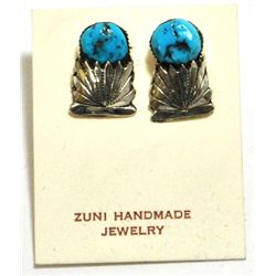 Old Pawn Turquoise Sterling Silver Post Earrings - Robert & Bernice Leekya