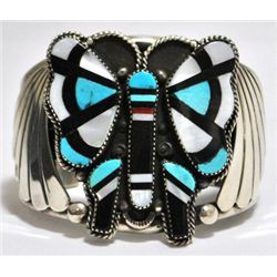 Old Pawn Multi-Stone Butterfly Sterling Silver Cuff Bracelet - M