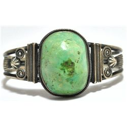 Old Pawn Green Turquoise Sterling Silver Cuff Bracelet - M