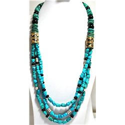 Navajo Turquoise & Onyx Necklace with 12k Gold Fill & Sterling Silver - Tommy Singer