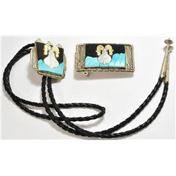 Old Pawn Multi-Stone Inlay Goat Sterling Silver Bolo Tie & Buckle Set - J Quam