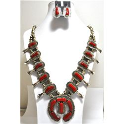 Old Pawn Navajo Mediterranean Coral Sterling Silver Squash Blossom Necklace & Earrings Set - Running