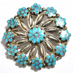 Old Pawn Turquoise Flower Sterling Silver Pendant & Pin - VM Dishta