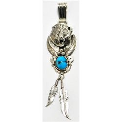 Navajo Turquoise Sterling Silver Charging Bear Head & Feathers Pendant - Running Bear