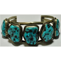 Old Pawn Sleeping Beauty Turquoise Sterling Silver Cuff Bracelet - J.C.