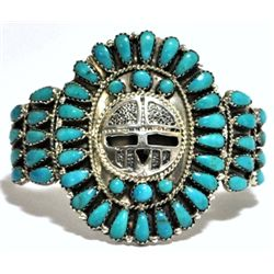 Old Pawn Turquoise Needlepoint Sun Face Sterling Silver Cuff Bracelet - LMB