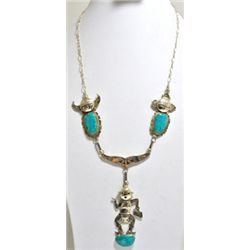 Old Dead Pawn Kingman Turquoise Mudhead Sterling Silver Necklace - NM