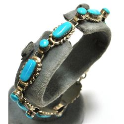 Old Pawn Zuni Turquoise Sterling Silver Link Bracelet - W Quam