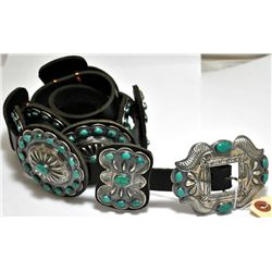 Old Pawn Green Turquoise Sterling Silver Concho Belt - Kirk Smith