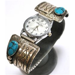 Old Pawn Spider Web Turquoise Sterling Silver Men's Watch - Oscar Alexius