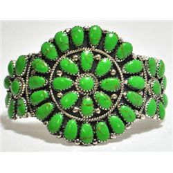 Navajo Green Turquoise Cluster Sterling Silver Cuff Bracelet - Juliana Williams