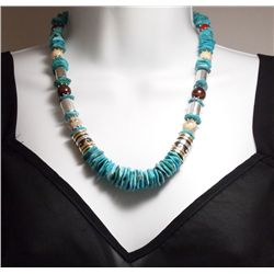 Navajo Turquoise Heishi & Multi-Stone Necklace - Tommy Singer