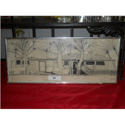 "Pencil Drawing Coca Cola Middle River Inn approx size 24"" x 10 1/2 Chrome Metal Frame Signed by John"