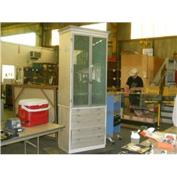 "Large One Piece Cabinet Glass Doors With Drawers approx 31"" x 20"" H 88""  On Line Bidders this  is  a"