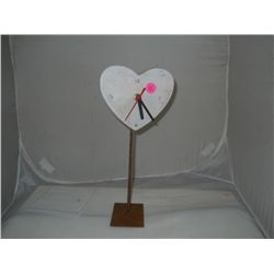 "Misc. Lot of 3- Wooden Heart Clocks approx 5 1/"" x 11"""