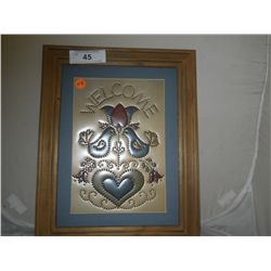 "Decorative Tin Welcome Sign In Frame approx 12"" x 15"""