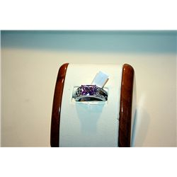 Lady's Fancy 14 kt White Gold Pink Sapphire Emerald Cut & Diamond Ring
