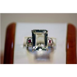 Lady's Fancy Silver Aquamarine, White Sapphire &amp; Pigeon Blood Ruby Ring.
