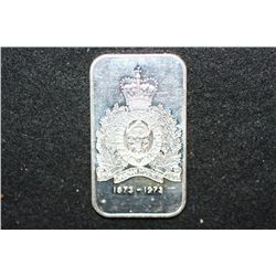 1973 Royal Canadian Mounted Police Silver Ingot; .999 Fine Silver 1 Oz.; United States Coinage Corp.