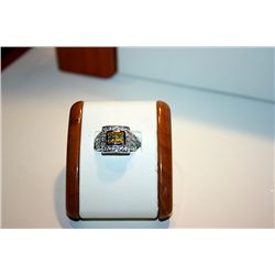 Lady's Fancy 14 kt White Gold Yellow Sapphire & Diamond Ring