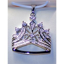 Lady's Fancy Style Sterlilng Silver  Crown  Diamond Pendant