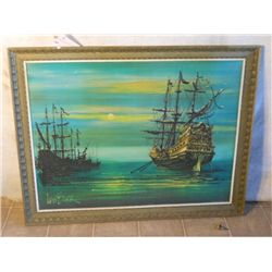 LEE BURR WOOD FRAMED SHIPS SAILING ON GREEN OCEAN