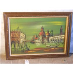 WOOD & CANVAS FRAMED HEAVY OIL PAINT OF ITALIAN
